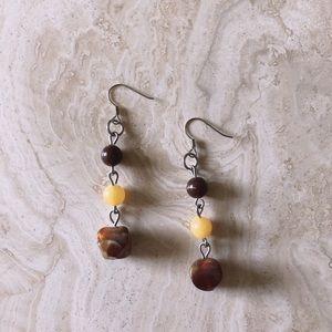 Amber & Yellow Bead Earrings